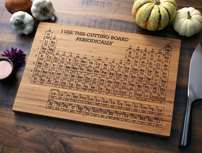 Periodic table engraved wood cutting board by elysiumwoodworks - Periodic table chopping board ...