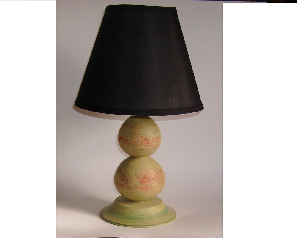 shabby chic table lamp pale olive over red and green by ptwood. Black Bedroom Furniture Sets. Home Design Ideas