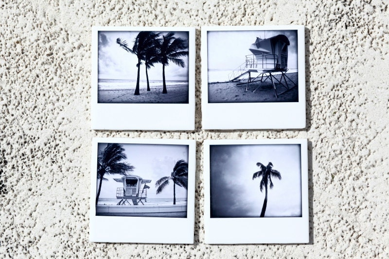 Beach Coasters Polaroid Style Ceramic, Lifeguard, Palm Trees  Set of 4 Black and White Photography - PIXELGRINphotography