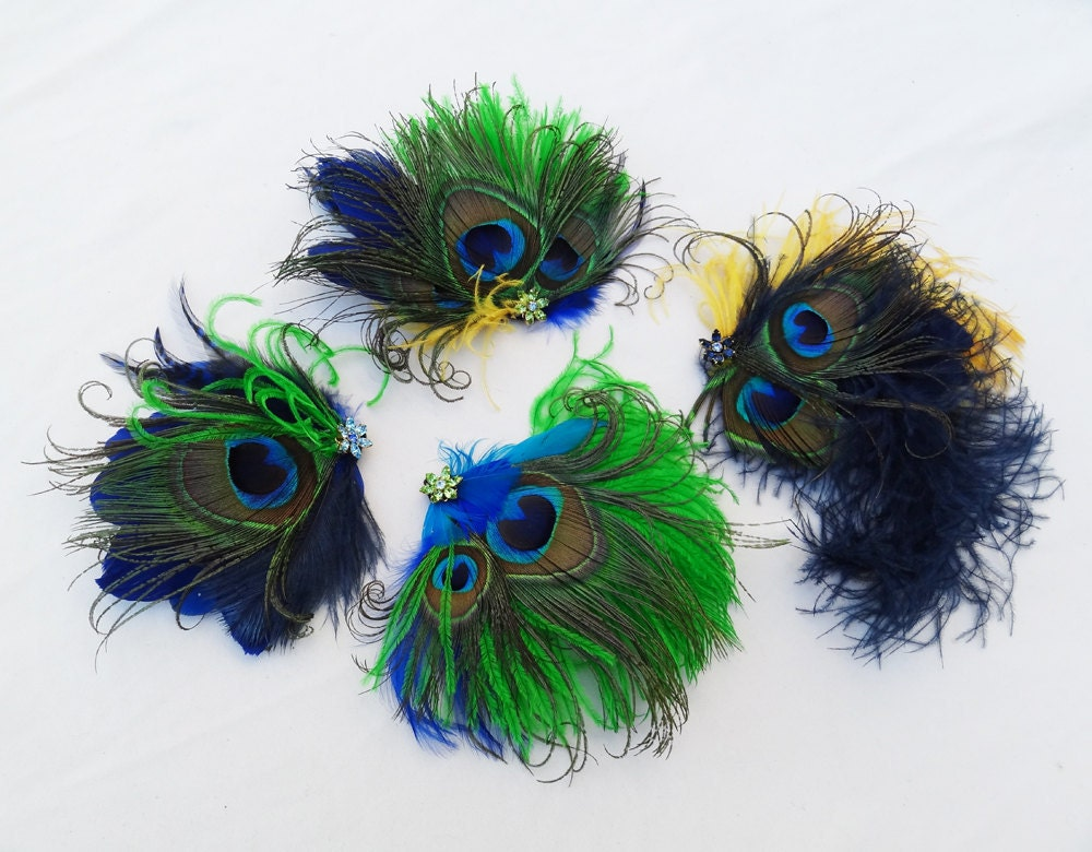 Weddings Peacock Feather Fascinator Set OF 4 Any Color custom