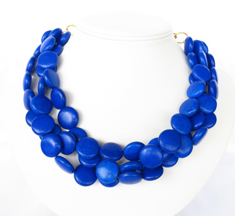 royal blue necklace chunky cobalt blue by wildflowersandgrace