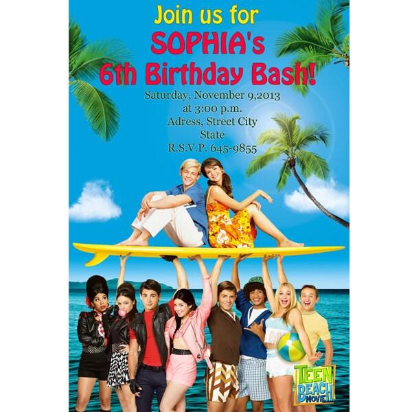 Teen beach digital file birthday party invitations printable