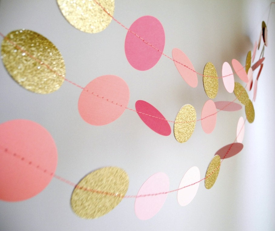 Gold Pink garland, glitter garland, circle paper , pink baby shower decor, nursery decor, girl birthday party garland - HoopsyDaisies