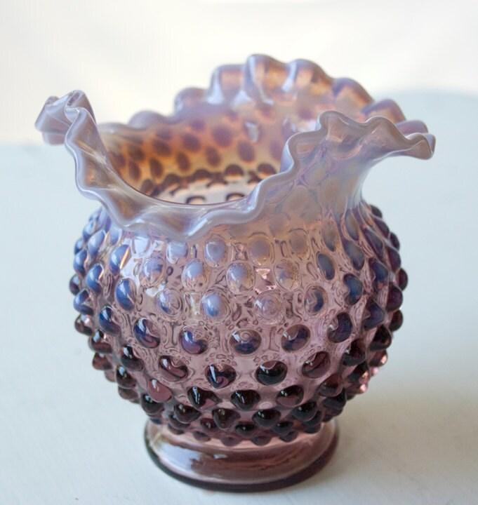 Round Amethyst Purple Hobnail Glass Vase Fenton by ... Ruffled Glass Vase