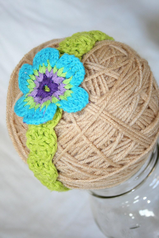 Baby Headband Girl Flower Crocheted Photo Prop Headband