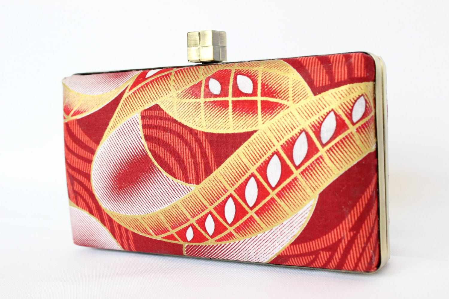 African fabric clutch bag Box clutch purse  red gold and white