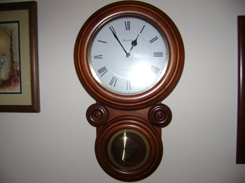 Vintage Bulova Chiming Wall Clock With Pendulum By Klockwize