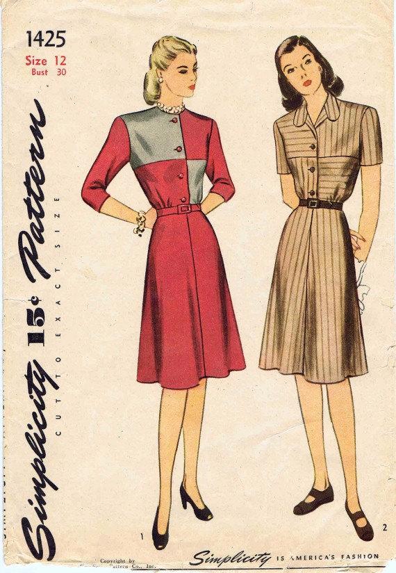 1940s simplicity 1425 womens front button flared shirtwaist dress