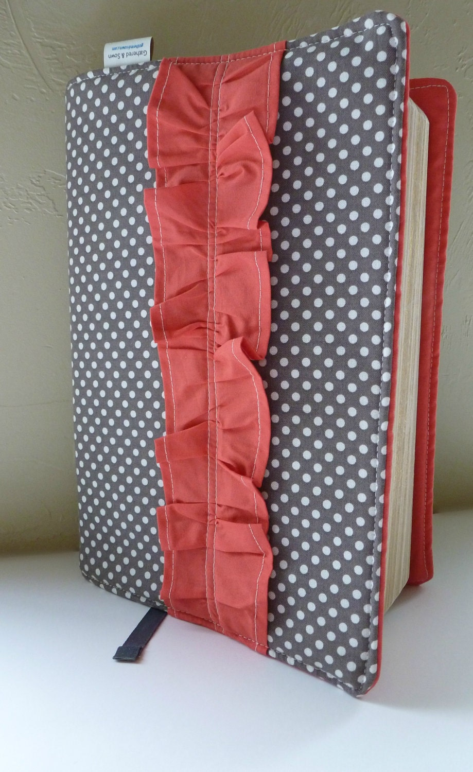Grey/WhitePolka Dot and  Salmon Ruffle Bible Cover- Made to Order