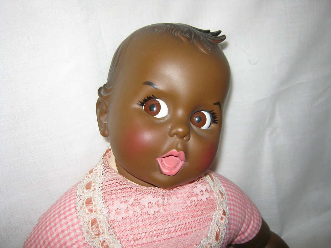 Vintage Doll Gerber Baby 20 Inches Black Flirty Eyes By