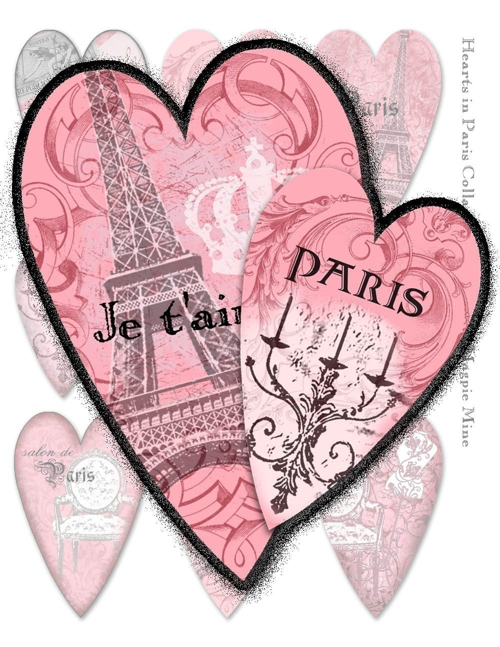 Paris Hearts Collage Sheet - Perfect for Valentines - Digital Download - Pink Black and White Shabby Chic
