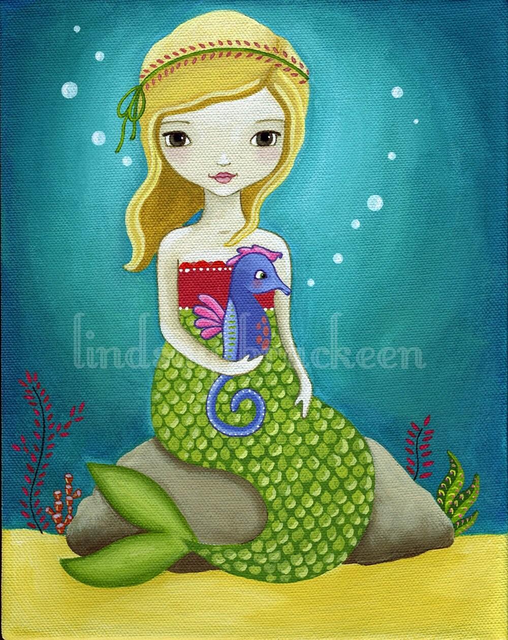 Mermaid Seahorse Print Nautical Kids Art