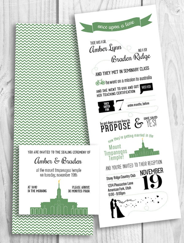 our lds love story printable wedding invitation by picadillylime