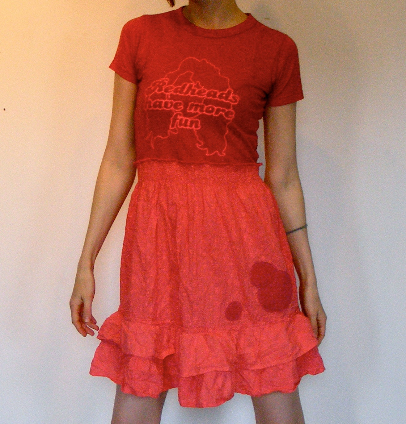 Women's Upcycled T-Shirt Dress for Summer Redheads, Eco and Recycled Pink Cottons - lovemadevisiblestore