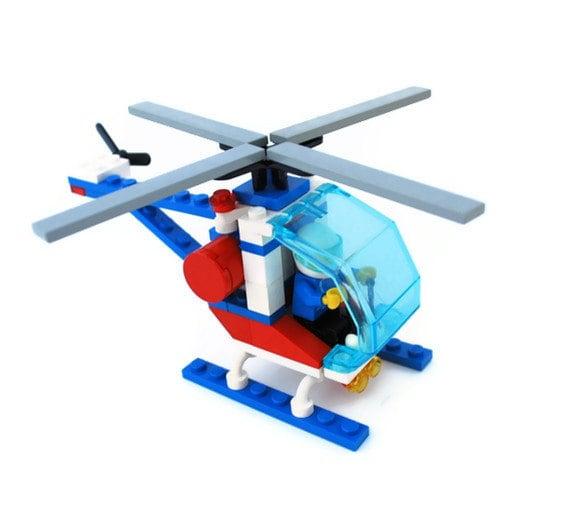 Vintage Lego Helicopter, Item 1974, Blue, White - vintagetoyshoppe