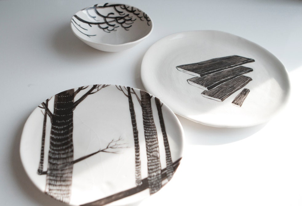 Birch Wood (Porcelain Plate)