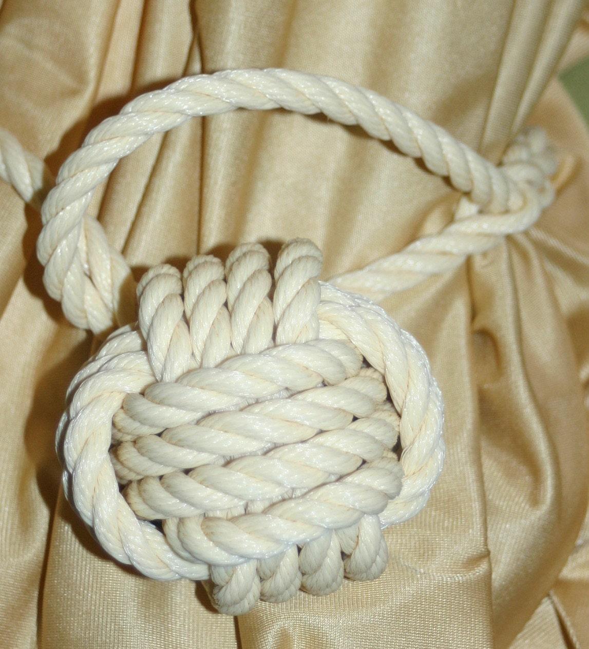 Curtain Tie back CREAM Beige Nautical Rope Tie by AlaskaRugCompany