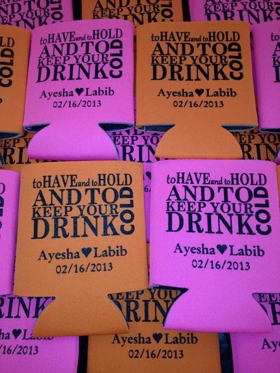 Wedding koozies to have and to hold lot of 12 custom can party favor