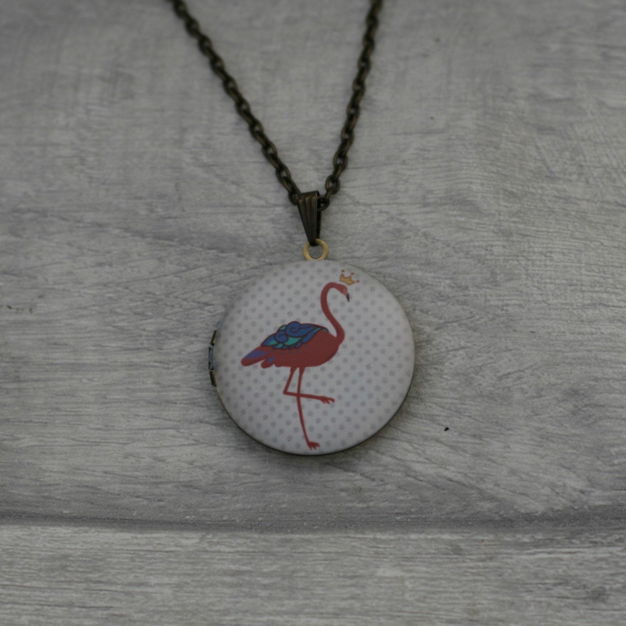Flamingo Locket Necklace