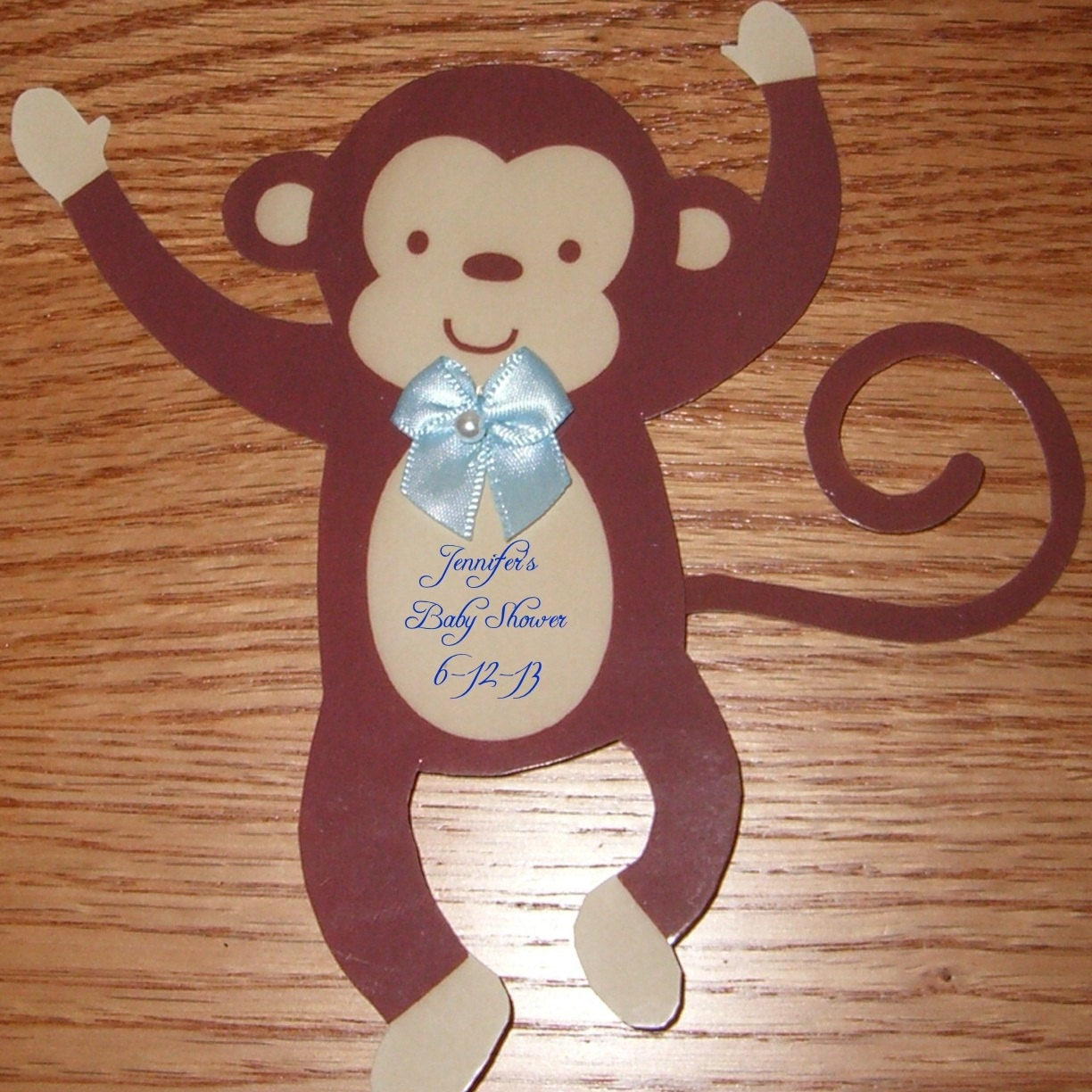 12 jungle monkey baby shower decorations with blue or pink bow and
