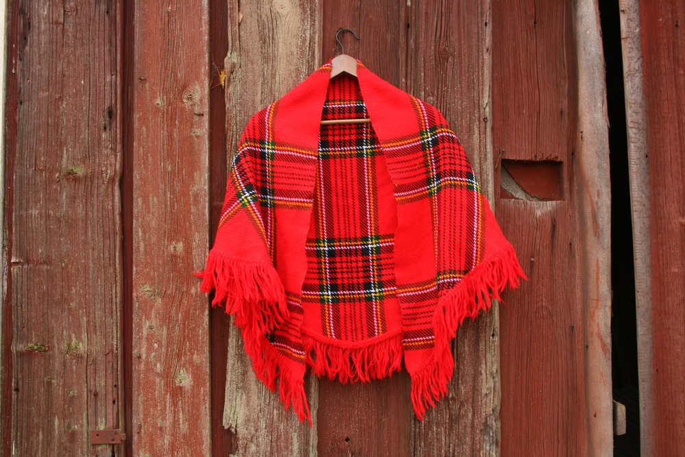 Red Tartan Plaid Poncho // Striped Shoulder Shawl with Fringe