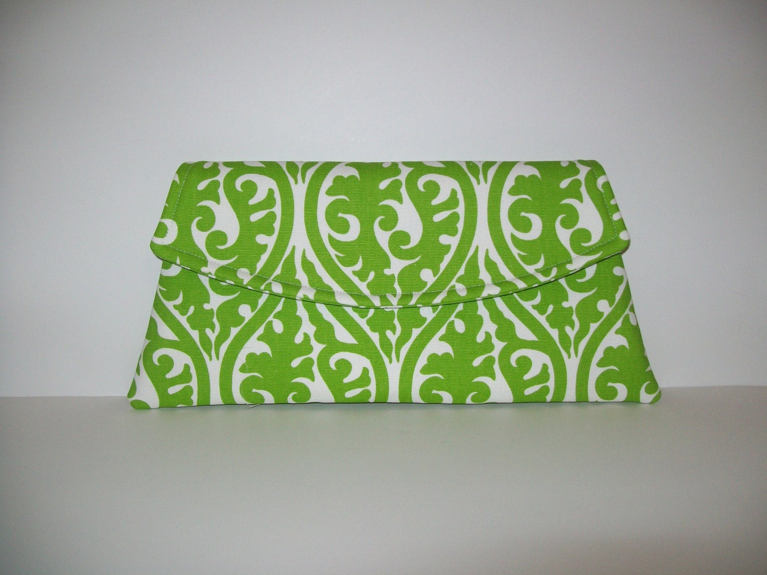 Classic Angled Clutch - Chartreuse Green and White Kimono Print - MSG FabriCreations