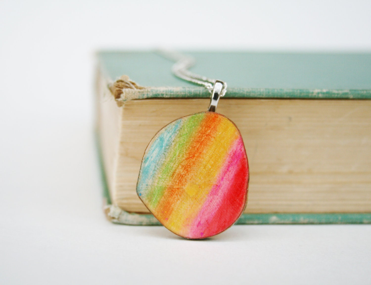 Art pendant necklace rainbow watercolor, Customized gifts, Unique gifts, art jewelery, gifts for her