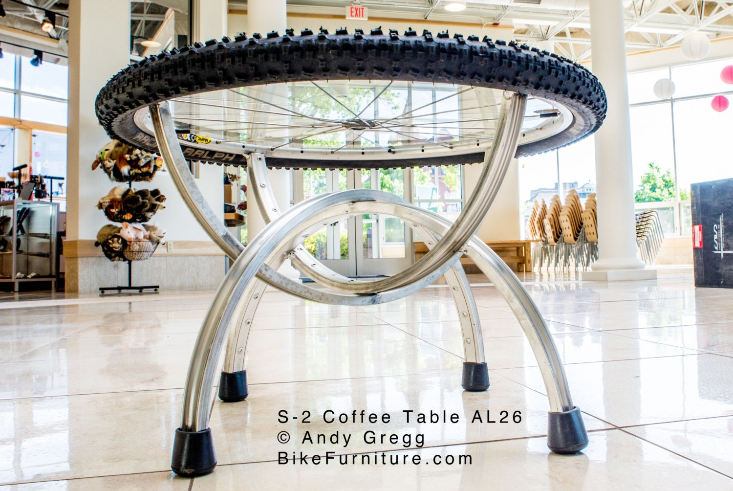 Items similar to bike part bicycle wheels coffee table for Bicycle wheel table