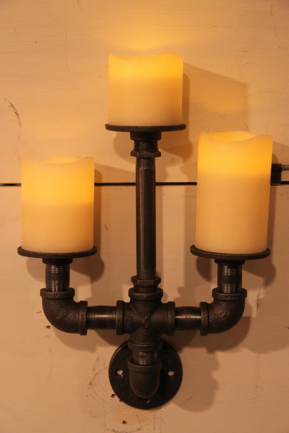 Industrial Candle Wall Sconces : Items similar to Industrial pipe candle holder wall sconce trident 2 on Etsy