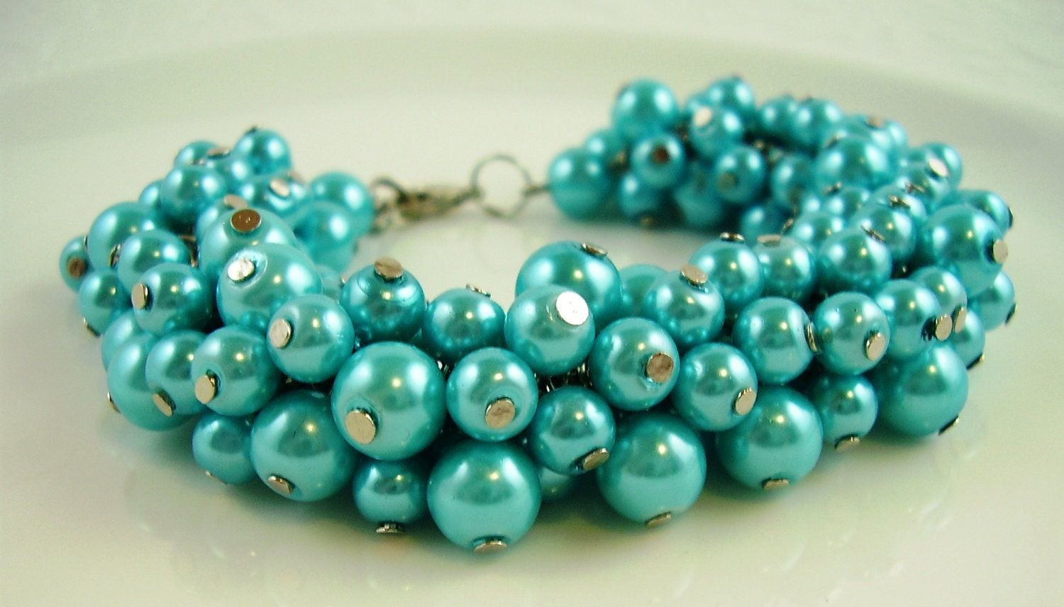 Vintage Turquoise Pearl Shaker Bracelet, Cha-Cha Bracelet, Mother's Day Gifts - myshininglights