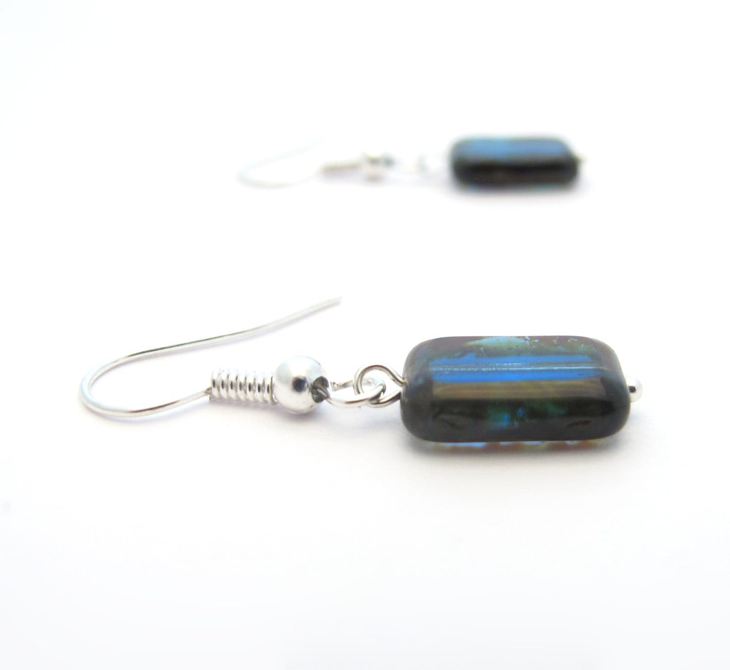 Small Blue Earrings, Czech Glass Rectangles - MoonlightShimmer