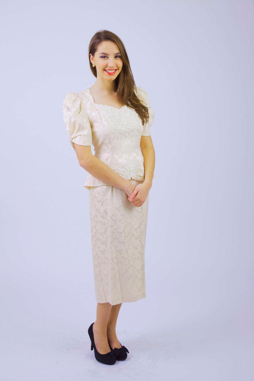 Vintage 40s Style Wedding Dresses : S style dress vintage peach brocade alternative wedding
