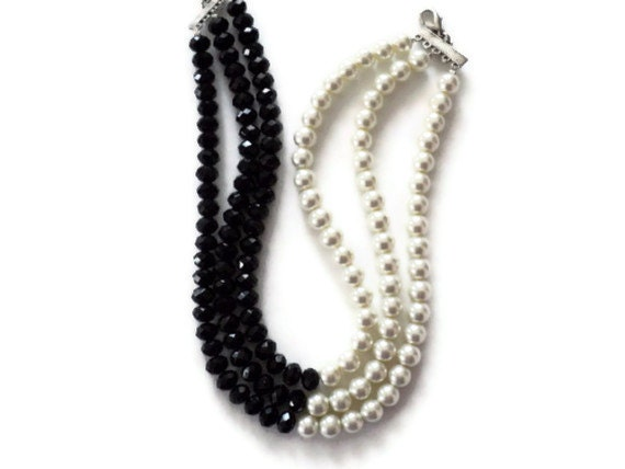 Wedding necklace, black crystal and white glass pearl necklace, black crystal necklace, white glass pearl necklace, handmade necklace - fundademircan