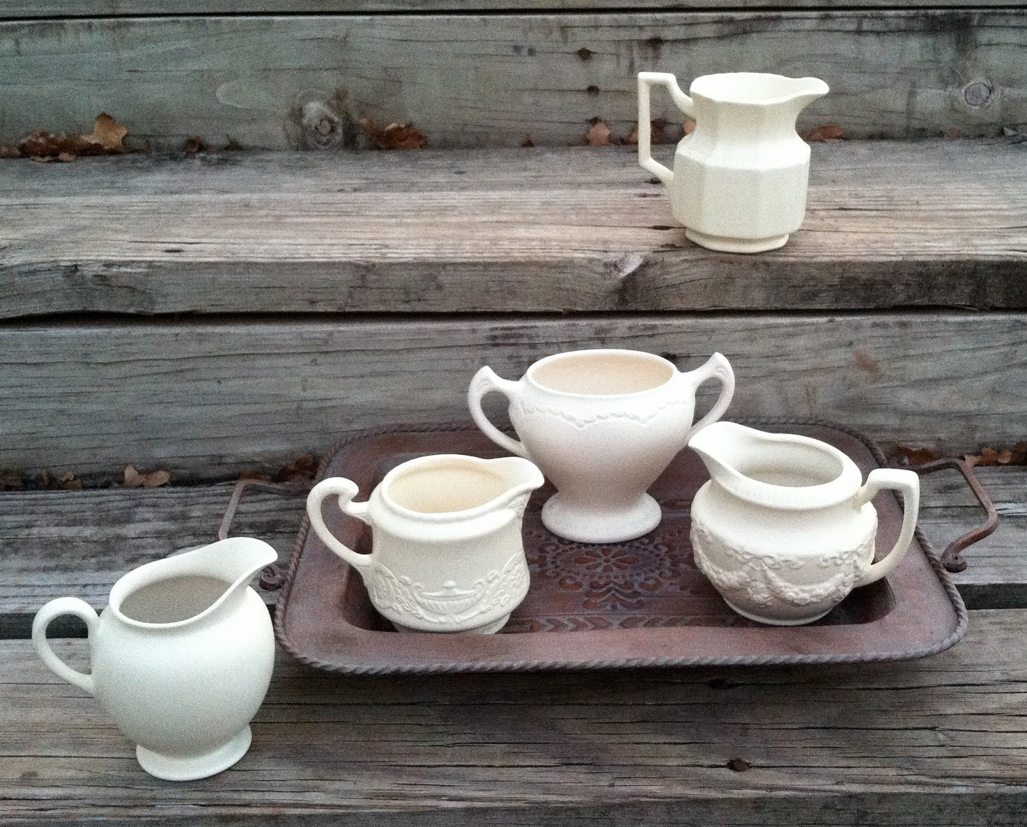 Vintage White Creamer Collection, Instant Collection, Country French Decor, Painted Cups