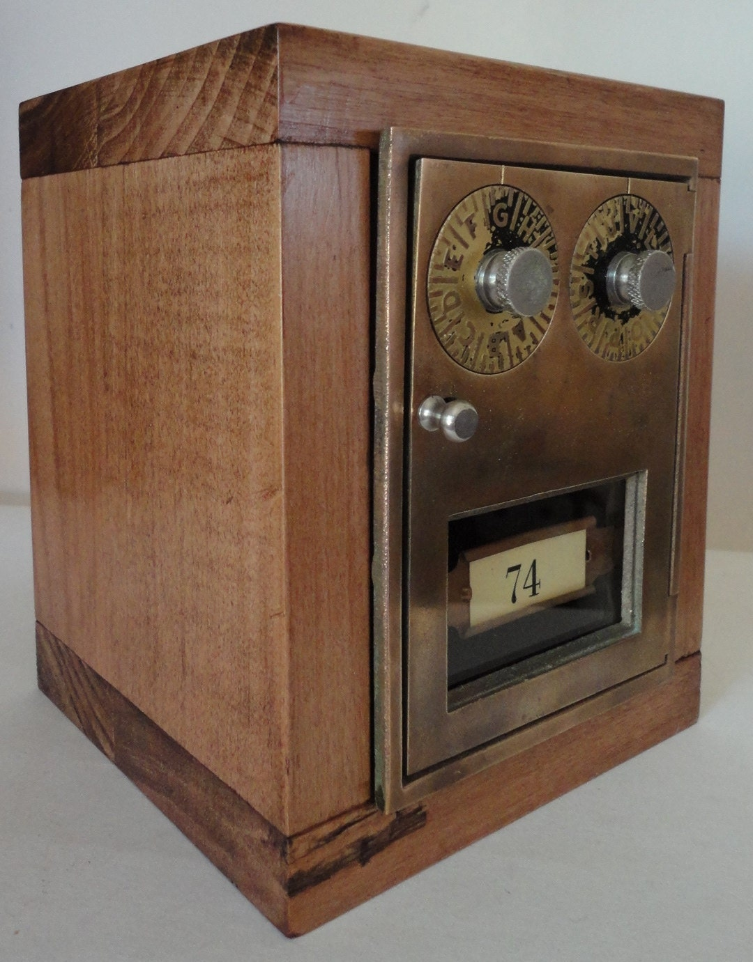 Rustic Wooden Safe with Vintage Brass Post Office Door by ...