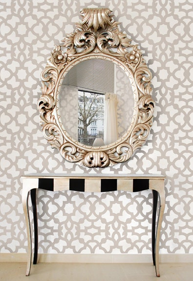 Moroccan Stencil Zamira - Short version - reusable stencil patterns for walls just like wallpaper - DIY decor