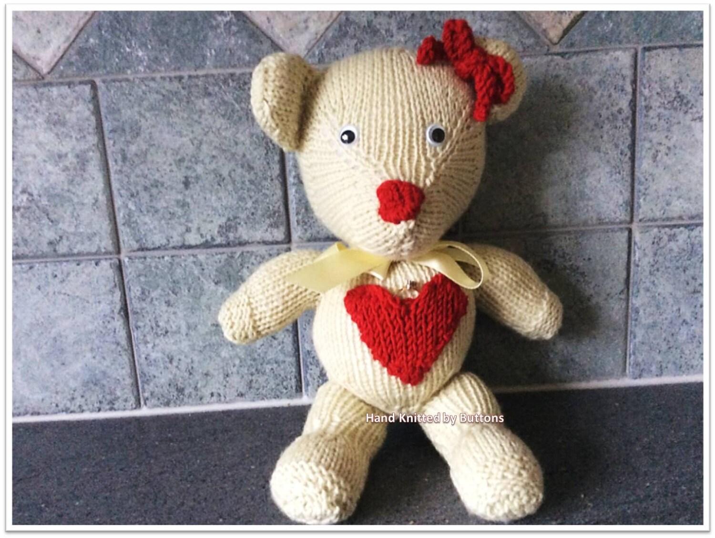 Adult Bear Valentines Teddy bear Bone teddy bear Bear with Bow Valentine bear Knitted teddy Teddy Bear Sweet heart Bear Heart bear