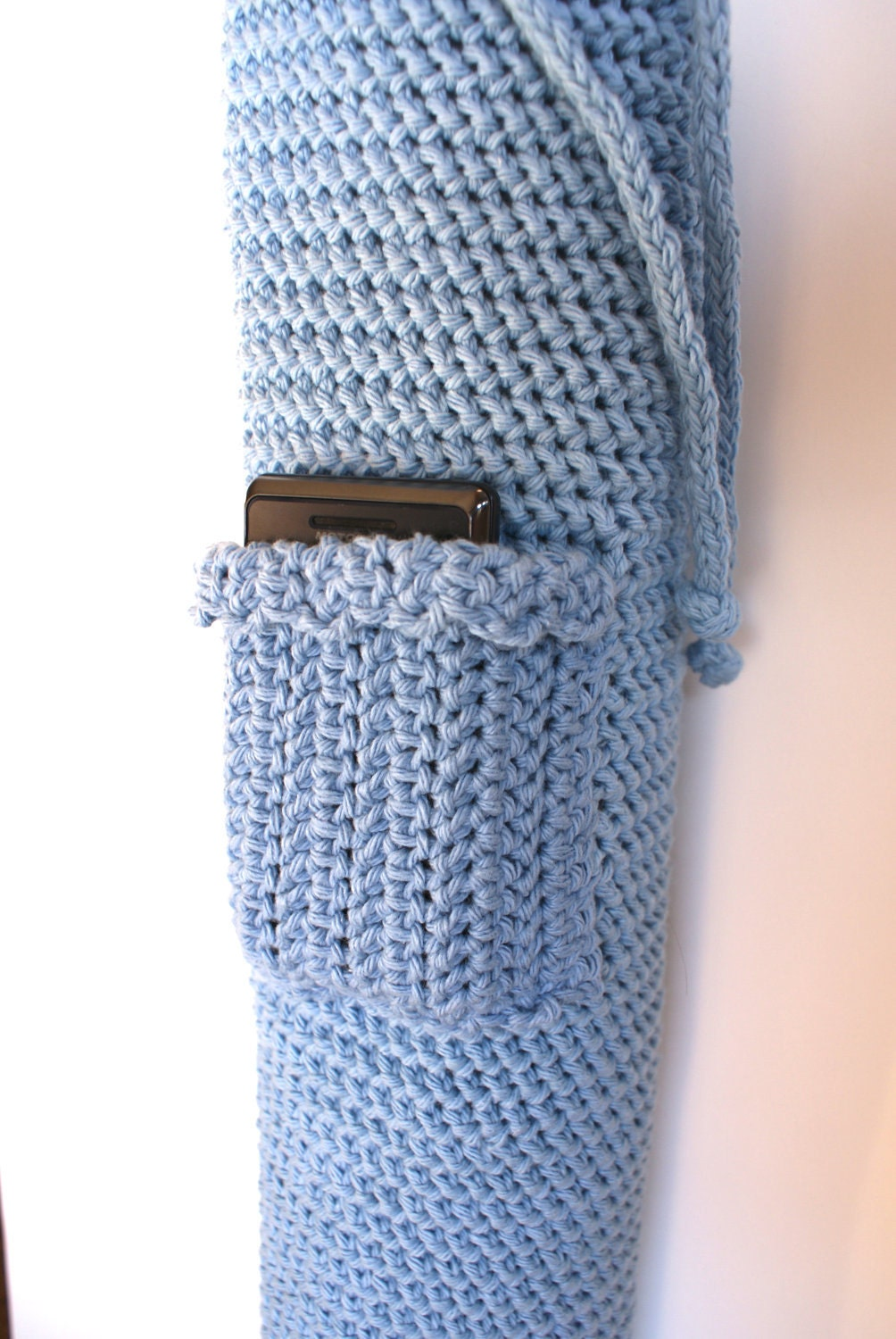 Items similar to Crochet Yoga Mat Bag Tote Blue with ...