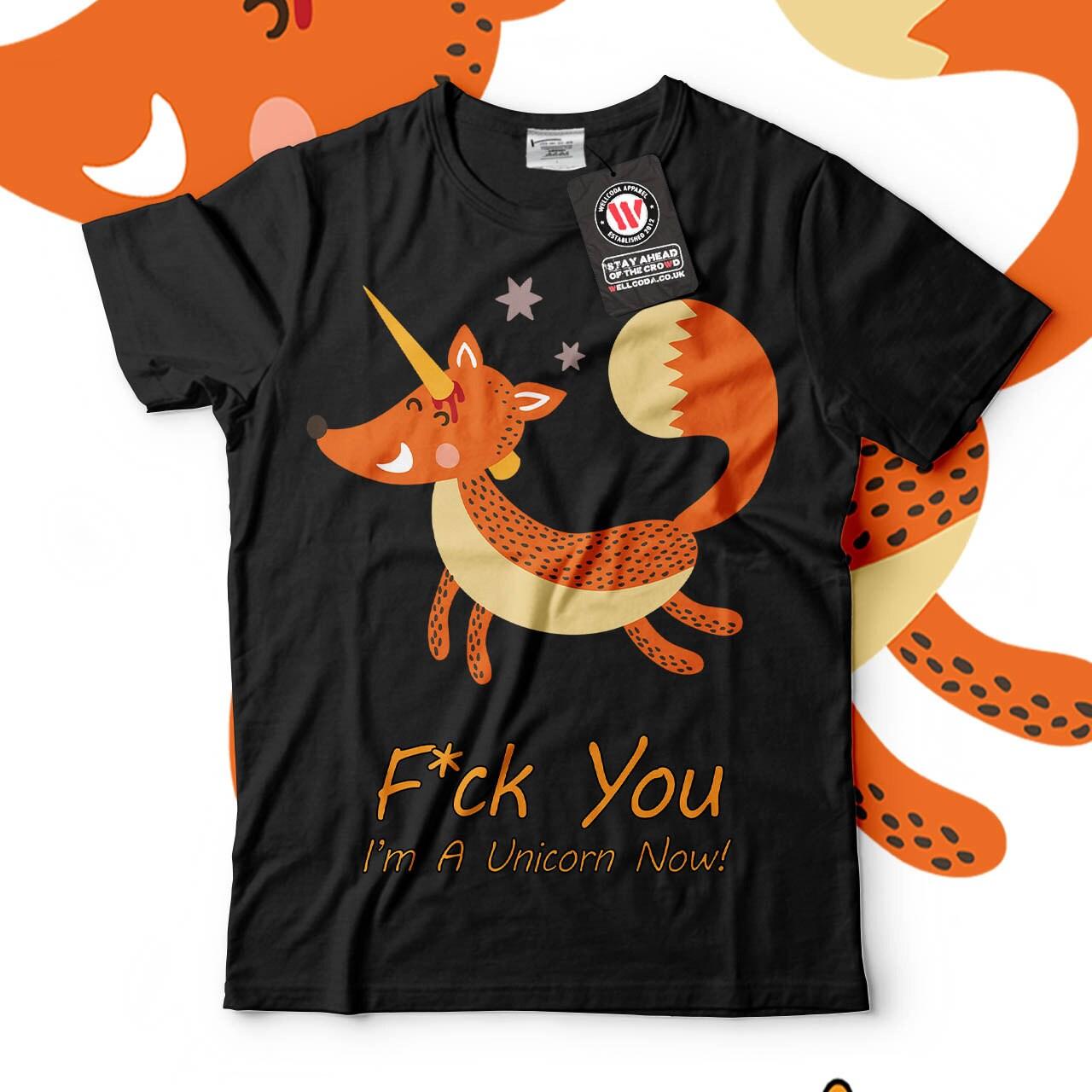 Animal Fox Unicorn Happy Horn Men Black Tshirt S5XL NEW  Wellcoda y275