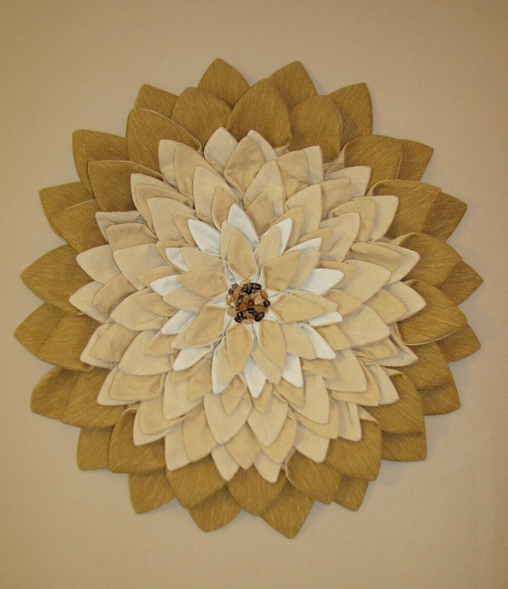 Wall Hanging - Camel Tan Fiber Art Textile Flower Wall Hanging