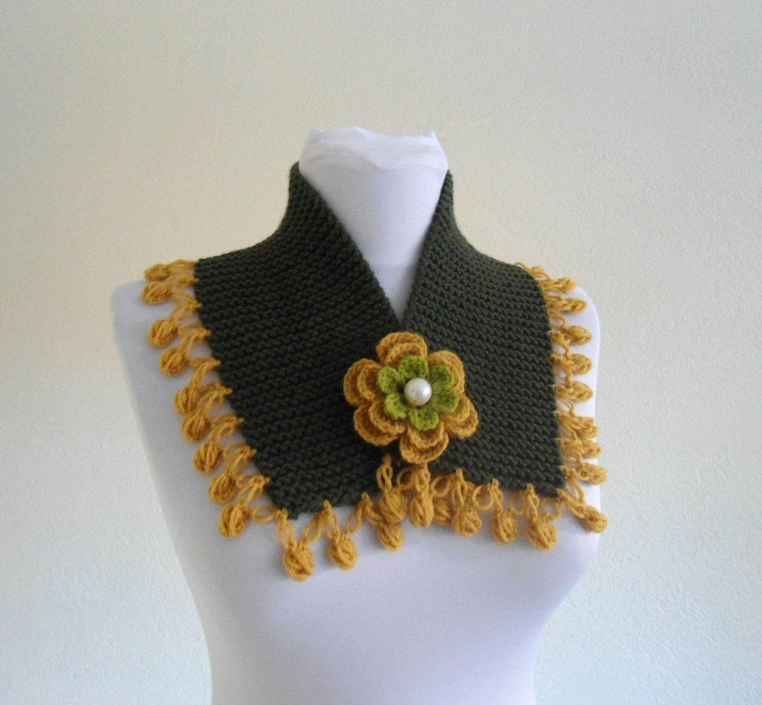 knit collar, fall fashion, Olivie green and mustard, neckwarmers, autumn, wool, hand-knitted,fashion,gift, new,valentines day