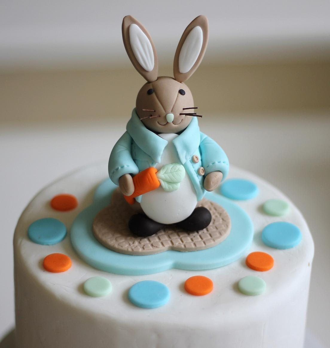 Fondant Cake Topper Whimsical 3D Peter Rabbit by LesPopSweets