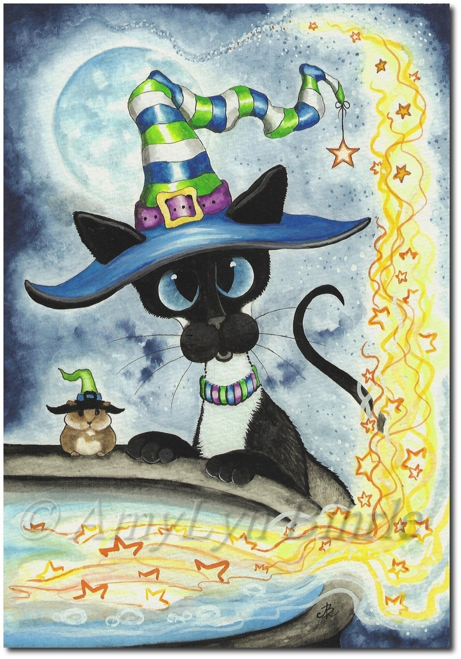 Siamese Cat Halloween Hamster Witch Cauldron Art By