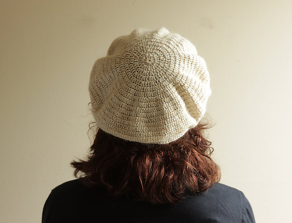 Crochet Hat Beret for Women - Adult Slouch Hat, Cream, Artist Tam, Chunky, Metallic - READY - OK - SENNURSASA