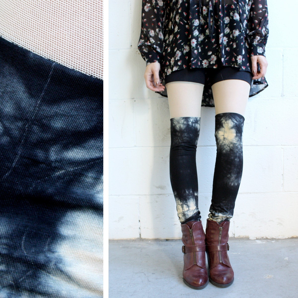 Leggings - Faux Thigh High - Black and Taupe Tie Dye