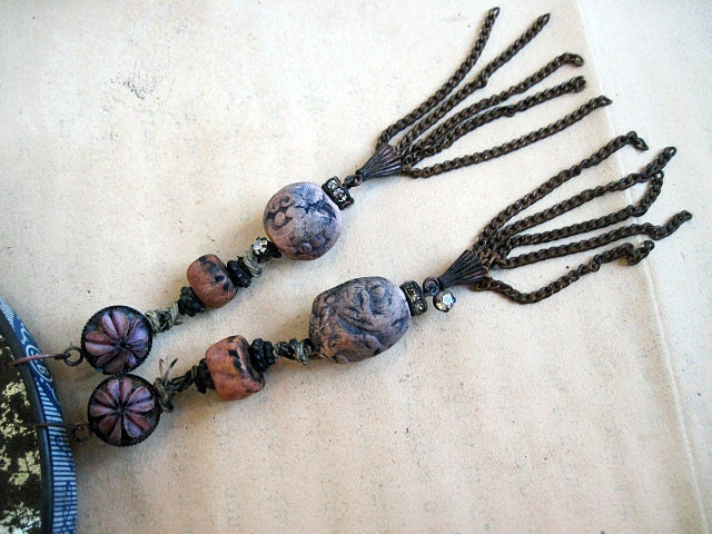 Nothing. Rustic Assemblage Shoulder Duster Dangles with Polymer Art Beads.