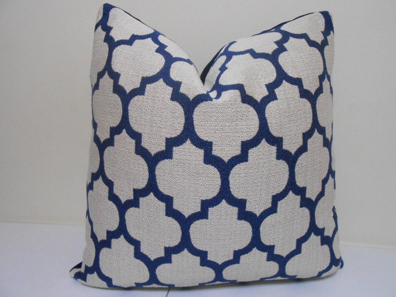 Navy Blue Pillow cover- Robert  Allen, quaterfoil pillow - Casablanca Pillow  20 x 20 inch -