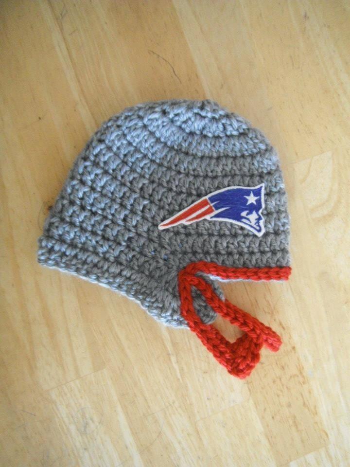 Crochet Baby Football Helmet Hat Pattern : New England Patriots Crochet Baby Football Helmet Hat by ...