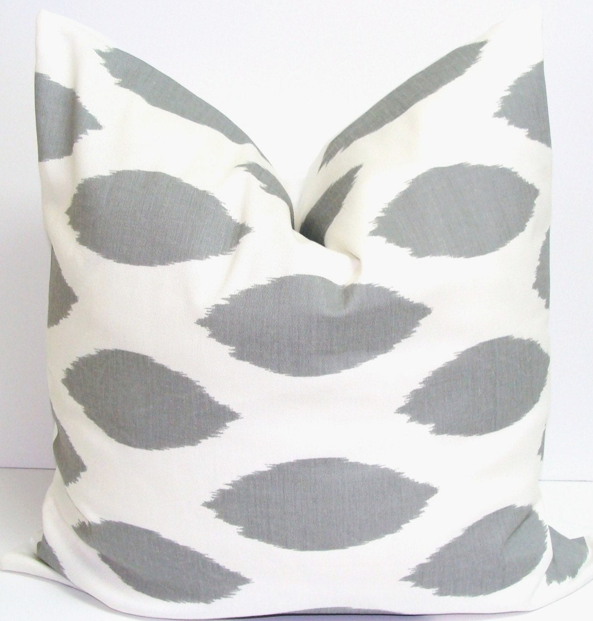 Charcoal Gray Pillow.16x16 inch.Pillow Cover.Printed Fabric Front and Back.Spotted Pillow.Ikat Pillow