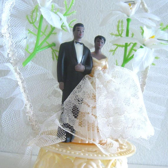Vintage Wedding Cake Topper African American Black bride and groom